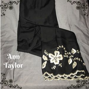 Ann Taylor silk pants with beautiful embroidery